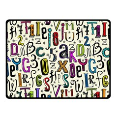 Colorful Retro Style Letters Numbers Stars Fleece Blanket (small) by EDDArt