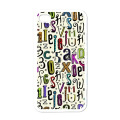 Colorful Retro Style Letters Numbers Stars Apple Iphone 4 Case (white) by EDDArt