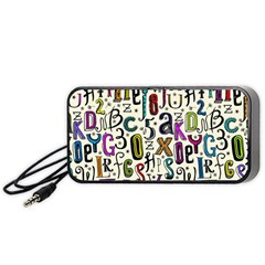 Colorful Retro Style Letters Numbers Stars Portable Speaker (black) by EDDArt