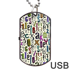 Colorful Retro Style Letters Numbers Stars Dog Tag Usb Flash (one Side) by EDDArt