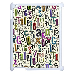 Colorful Retro Style Letters Numbers Stars Apple Ipad 2 Case (white) by EDDArt