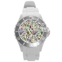 Colorful Retro Style Letters Numbers Stars Round Plastic Sport Watch (l) by EDDArt