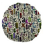 Colorful Retro Style Letters Numbers Stars Large 18  Premium Round Cushions