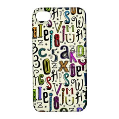 Colorful Retro Style Letters Numbers Stars Apple Iphone 4/4s Hardshell Case With Stand by EDDArt