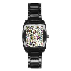 Colorful Retro Style Letters Numbers Stars Stainless Steel Barrel Watch by EDDArt