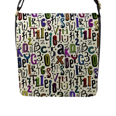 Colorful Retro Style Letters Numbers Stars Flap Messenger Bag (l)  by EDDArt