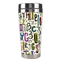 Colorful Retro Style Letters Numbers Stars Stainless Steel Travel Tumblers by EDDArt