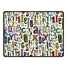 Colorful Retro Style Letters Numbers Stars Double Sided Fleece Blanket (small)  by EDDArt