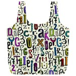 Colorful Retro Style Letters Numbers Stars Full Print Recycle Bags (L)