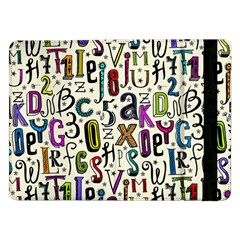 Colorful Retro Style Letters Numbers Stars Samsung Galaxy Tab Pro 12 2  Flip Case by EDDArt