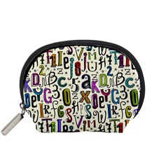 Colorful Retro Style Letters Numbers Stars Accessory Pouches (small)  by EDDArt