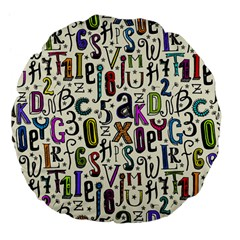 Colorful Retro Style Letters Numbers Stars Large 18  Premium Flano Round Cushions by EDDArt