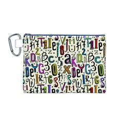 Colorful Retro Style Letters Numbers Stars Canvas Cosmetic Bag (m) by EDDArt