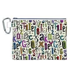 Colorful Retro Style Letters Numbers Stars Canvas Cosmetic Bag (l) by EDDArt