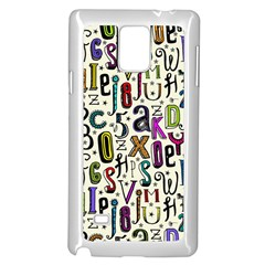 Colorful Retro Style Letters Numbers Stars Samsung Galaxy Note 4 Case (white) by EDDArt