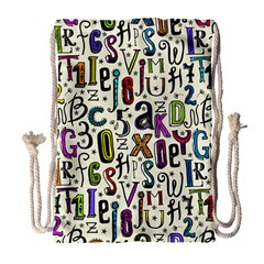 Colorful Retro Style Letters Numbers Stars Drawstring Bag (large) by EDDArt