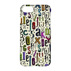 Colorful Retro Style Letters Numbers Stars Apple Iphone 7 Hardshell Case by EDDArt