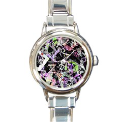 Chaos With Letters Black Multicolored Round Italian Charm Watch by EDDArt