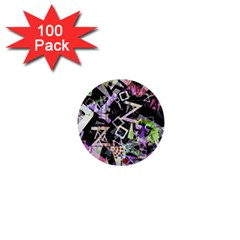 Chaos With Letters Black Multicolored 1  Mini Buttons (100 Pack)  by EDDArt