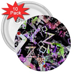 Chaos With Letters Black Multicolored 3  Buttons (10 Pack)  by EDDArt