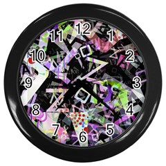 Chaos With Letters Black Multicolored Wall Clocks (black) by EDDArt