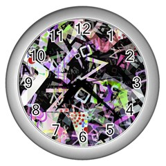 Chaos With Letters Black Multicolored Wall Clocks (silver)  by EDDArt