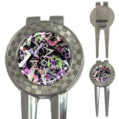 Chaos With Letters Black Multicolored 3 In 1 Golf Divots by EDDArt