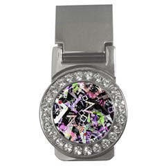 Chaos With Letters Black Multicolored Money Clips (cz)  by EDDArt