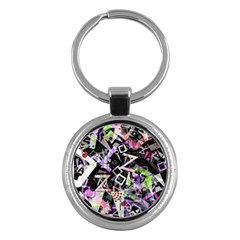 Chaos With Letters Black Multicolored Key Chains (round)  by EDDArt