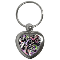 Chaos With Letters Black Multicolored Key Chains (heart)  by EDDArt