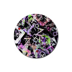 Chaos With Letters Black Multicolored Rubber Round Coaster (4 Pack)  by EDDArt