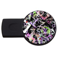 Chaos With Letters Black Multicolored Usb Flash Drive Round (2 Gb) by EDDArt