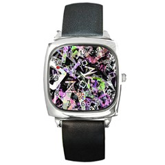 Chaos With Letters Black Multicolored Square Metal Watch by EDDArt
