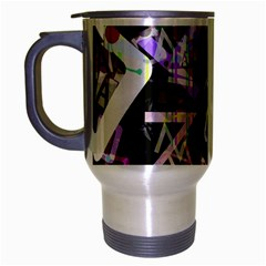 Chaos With Letters Black Multicolored Travel Mug (silver Gray) by EDDArt