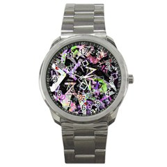 Chaos With Letters Black Multicolored Sport Metal Watch by EDDArt