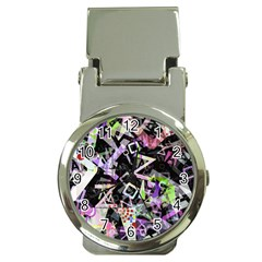 Chaos With Letters Black Multicolored Money Clip Watches by EDDArt