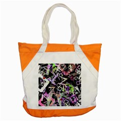 Chaos With Letters Black Multicolored Accent Tote Bag by EDDArt