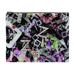 Chaos With Letters Black Multicolored Cosmetic Bag (xl) by EDDArt