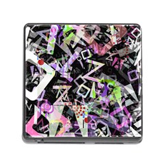 Chaos With Letters Black Multicolored Memory Card Reader (square) by EDDArt
