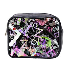 Chaos With Letters Black Multicolored Mini Toiletries Bag 2 Side by EDDArt