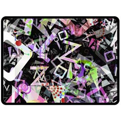 Chaos With Letters Black Multicolored Fleece Blanket (large)  by EDDArt