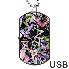 Chaos With Letters Black Multicolored Dog Tag Usb Flash (one Side) by EDDArt