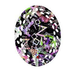 Chaos With Letters Black Multicolored Ornament (oval Filigree) by EDDArt