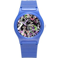 Chaos With Letters Black Multicolored Round Plastic Sport Watch (s) by EDDArt