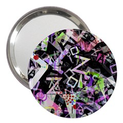 Chaos With Letters Black Multicolored 3  Handbag Mirrors by EDDArt