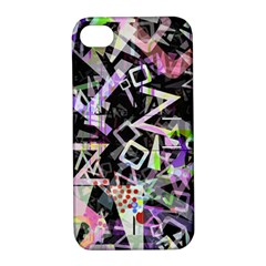 Chaos With Letters Black Multicolored Apple Iphone 4/4s Hardshell Case With Stand by EDDArt