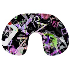 Chaos With Letters Black Multicolored Travel Neck Pillows by EDDArt