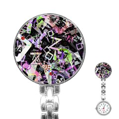 Chaos With Letters Black Multicolored Stainless Steel Nurses Watch by EDDArt