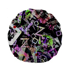 Chaos With Letters Black Multicolored Standard 15  Premium Flano Round Cushions by EDDArt