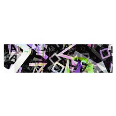 Chaos With Letters Black Multicolored Satin Scarf (oblong) by EDDArt